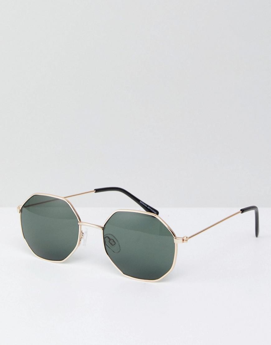 1803f66726 Lyst - Bershka Hexagonal Sunglasses In Gold Frame With Black Lenses ...