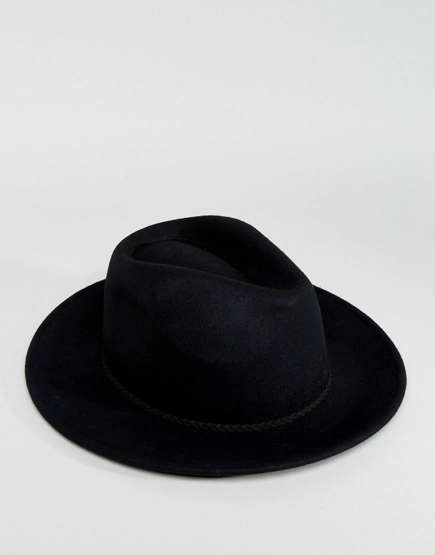 623797ac303e9 Lyst - ASOS Felt Panama Hat With Braid Braid Trim With Size Adjuster in  Black