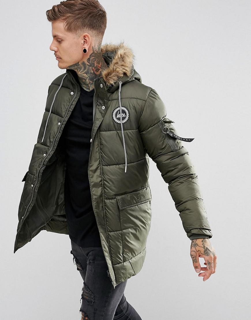 Hype Padded Parka In Khaki With Faux Fur Hood in Green for Men | Lyst