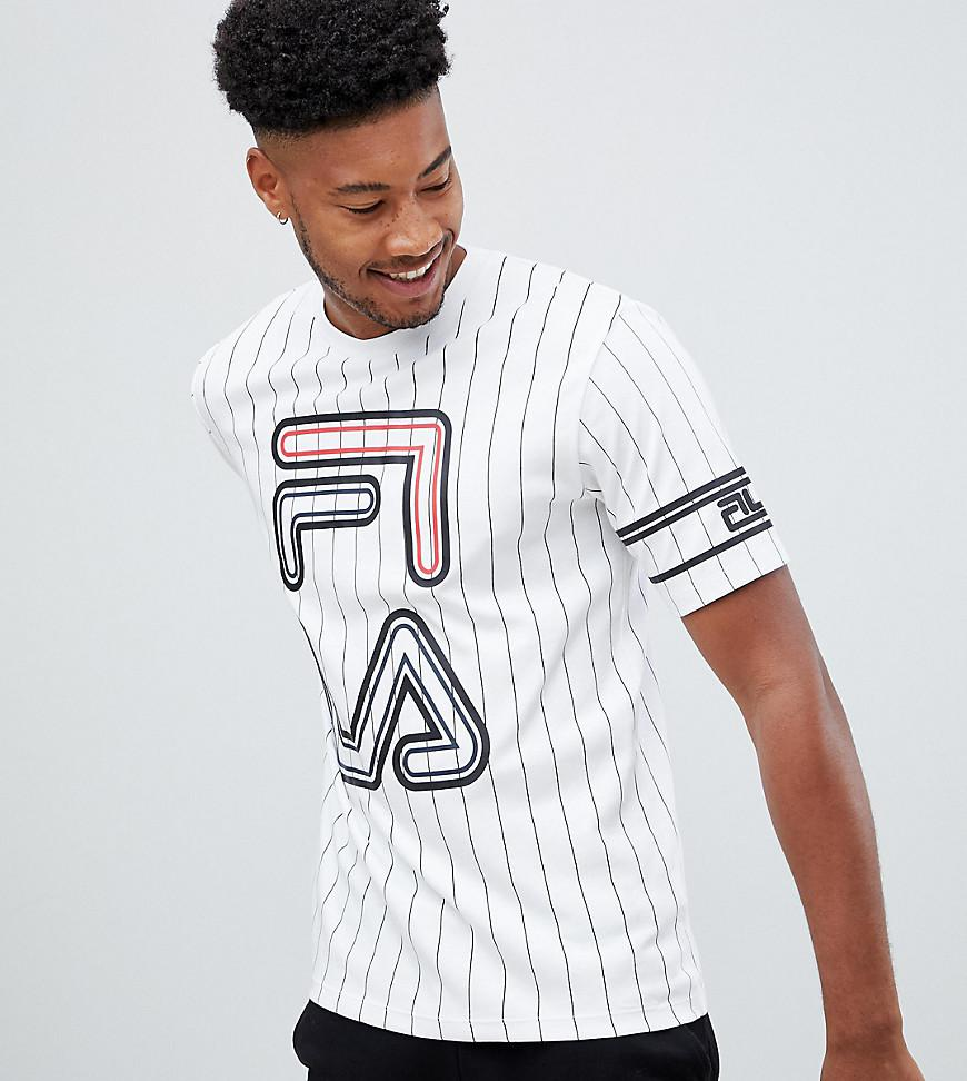d77ed13b4d Fila Black Line Striped Declan T-shirt With Large Logo In White in ...