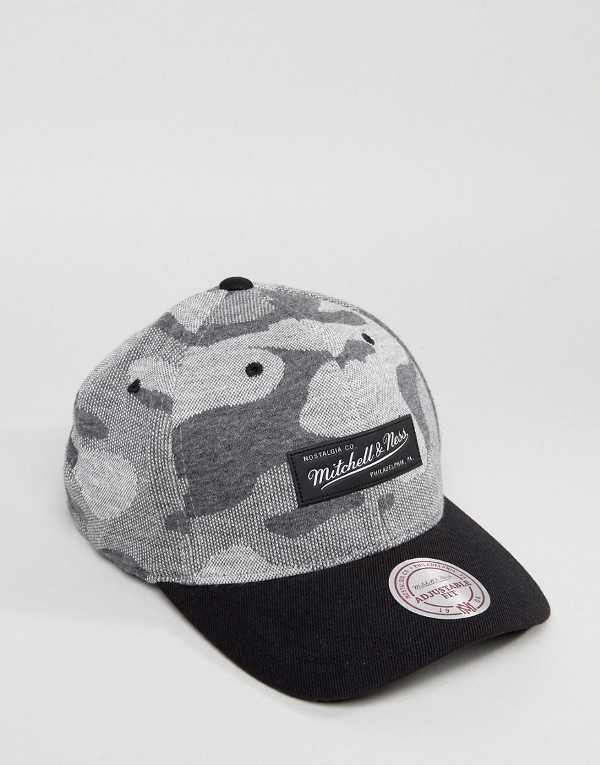 110 Adjustable Baseball Cap in Camo Knit - Black Mitchell & Ness cn1d1xYm