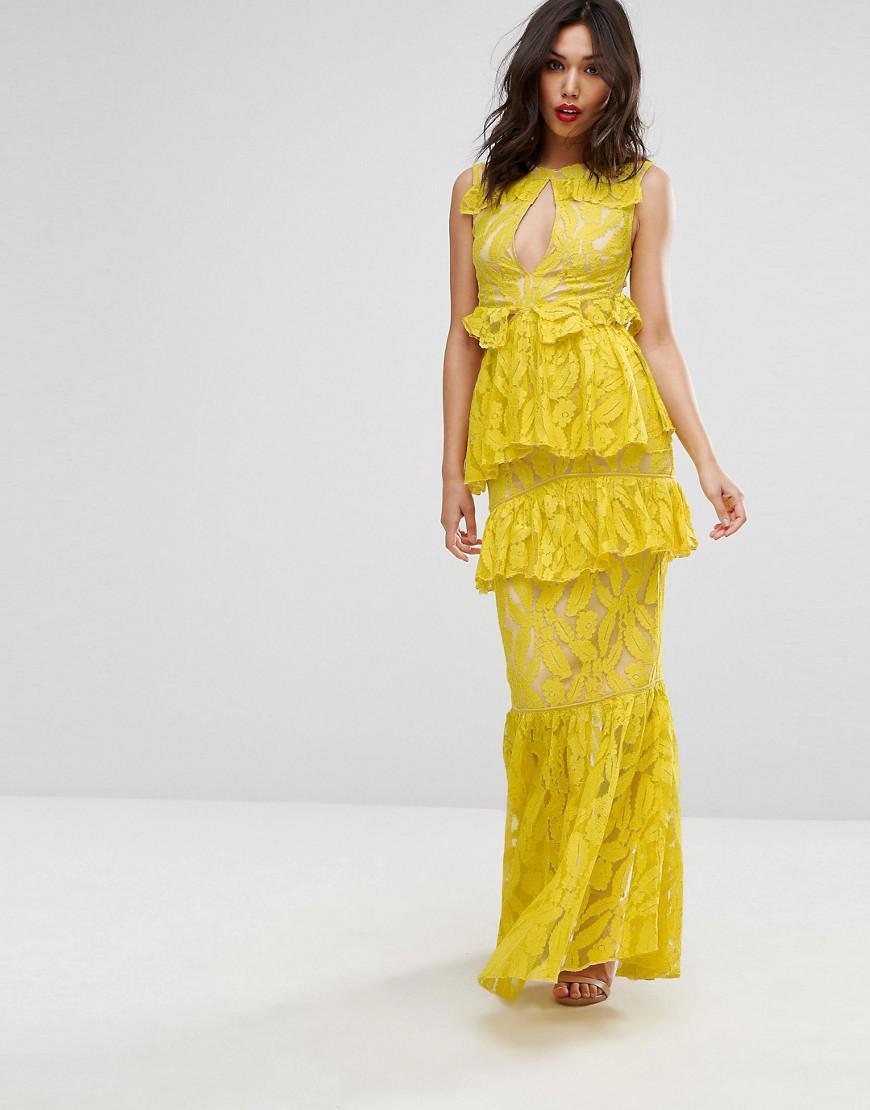 One Shoulder Floral Maxi Dress - Yellow Prettylittlething Yz1UEC0ARm