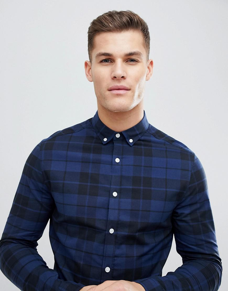 d97cfdddfcea ASOS Skinny Poplin Check Shirt In Blue in Blue for Men - Lyst