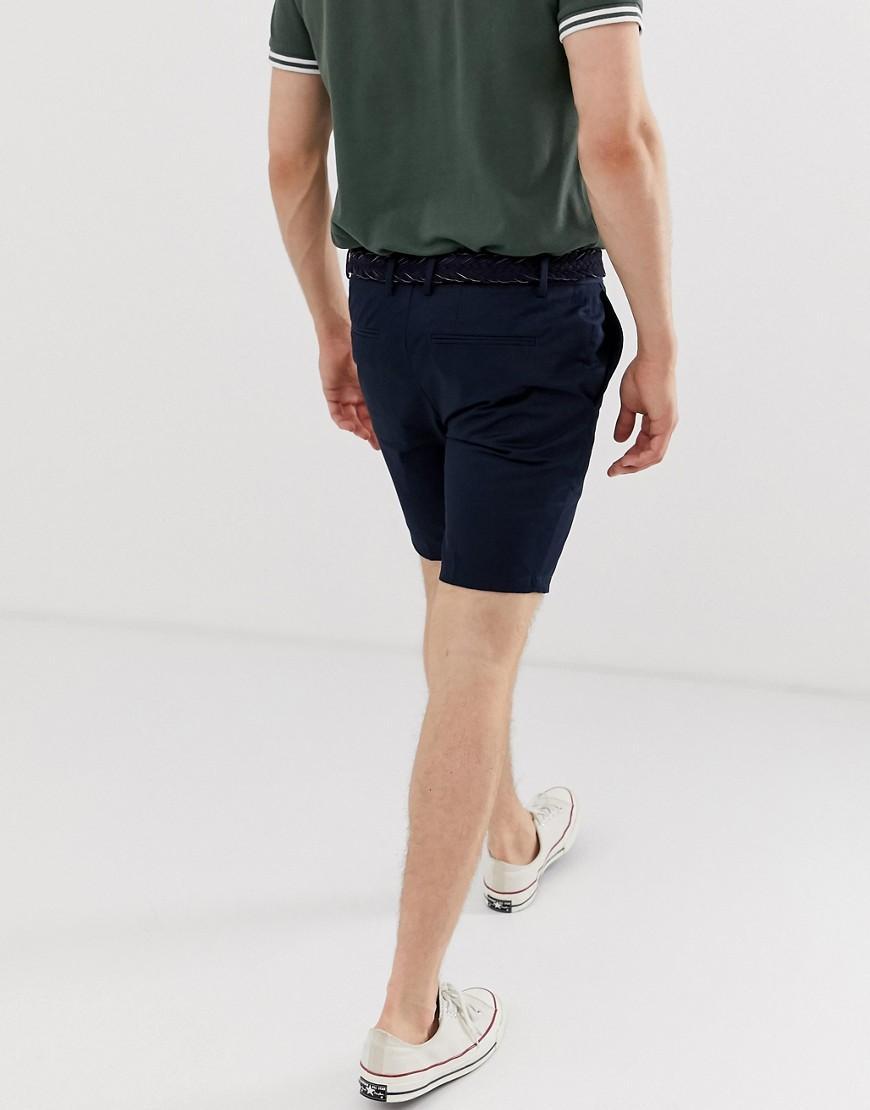 5489c438af River Island Smart Belted Shorts In Navy in Blue for Men - Lyst