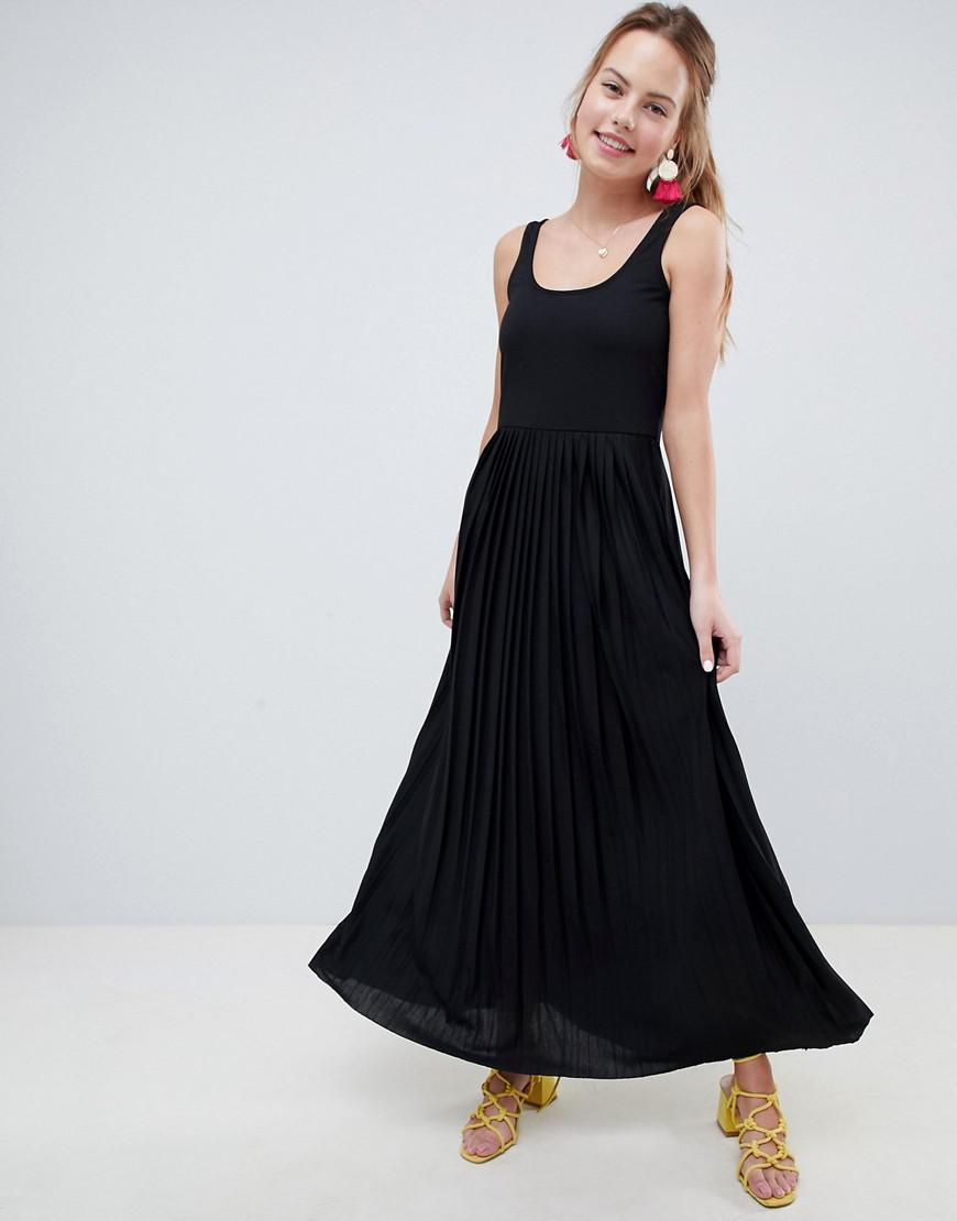 bf5def3562 ASOS Maxi Dress With Pleated Skirt in Black - Lyst
