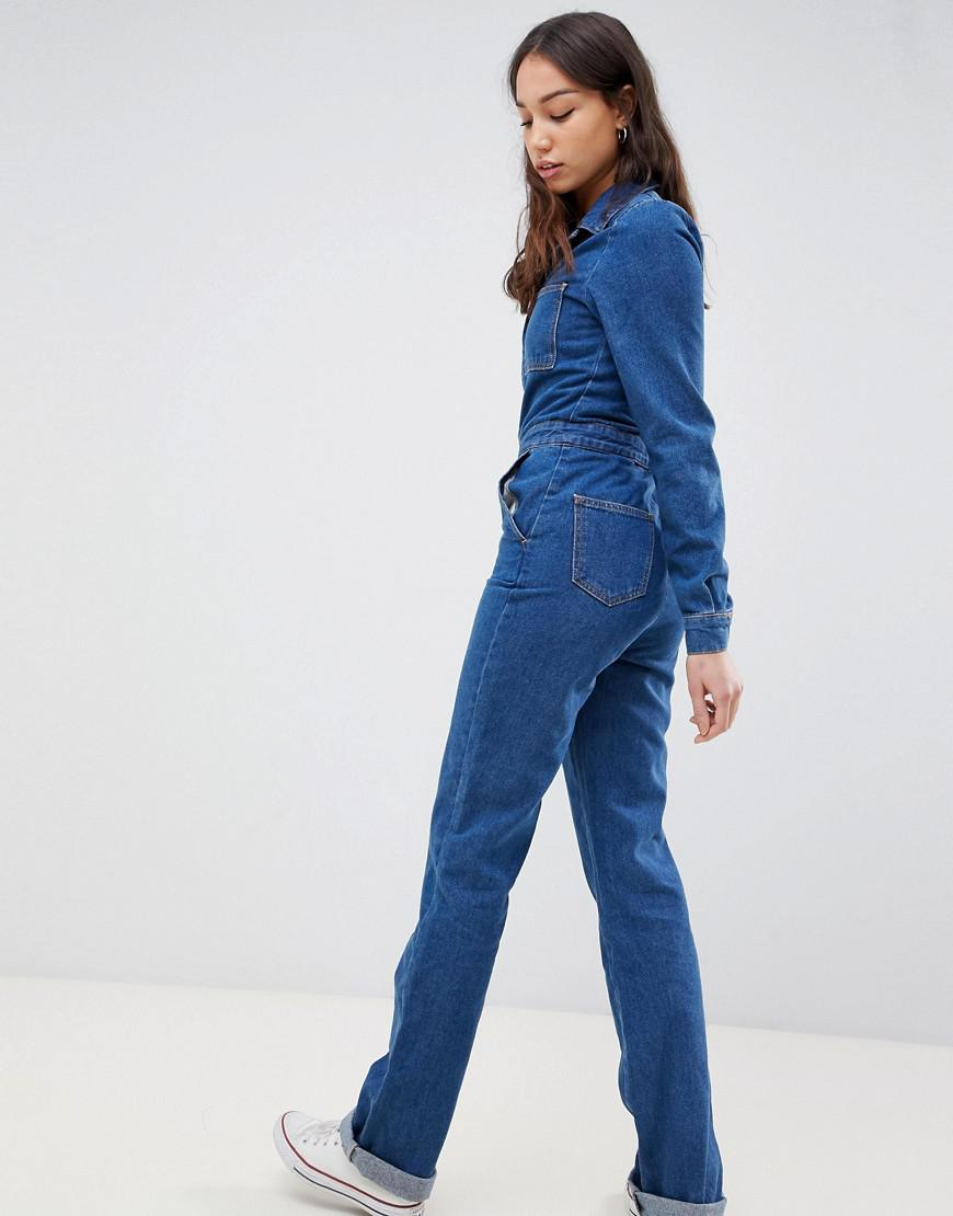 20a9f16699f1 Lyst - ASOS Asos Design Tall Boilersuit In Midwash With Flare Leg in Blue