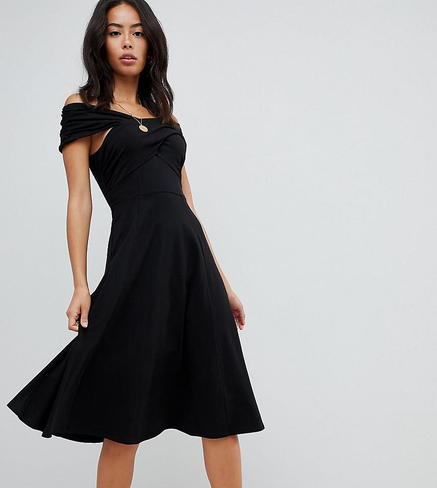 ASOS. Women s Black Asos Design Tall Midi Skater Dress With Bardot Neckline d96e2a9c6