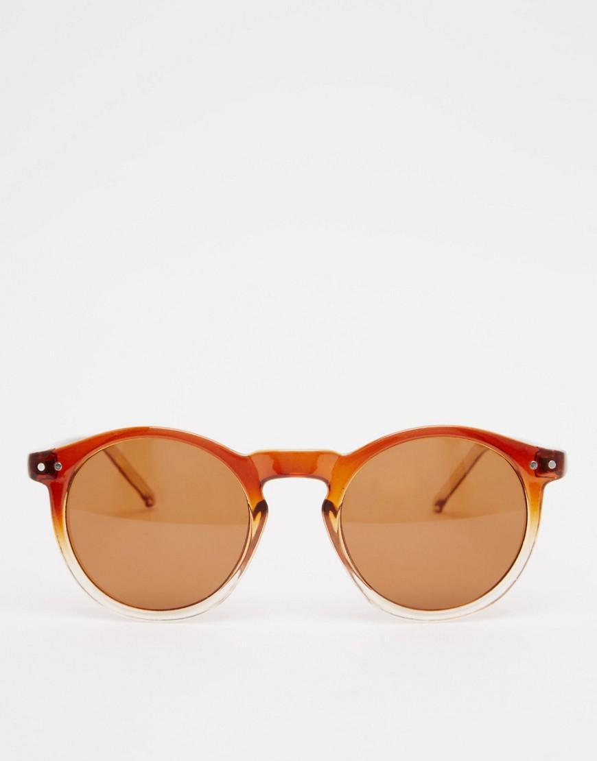 af5cf222012aca Lyst - Lunettes de soleil rondes monture dgrade du marron au transparent  avec pont dcoup en serrure Asos pour homme en coloris Marron