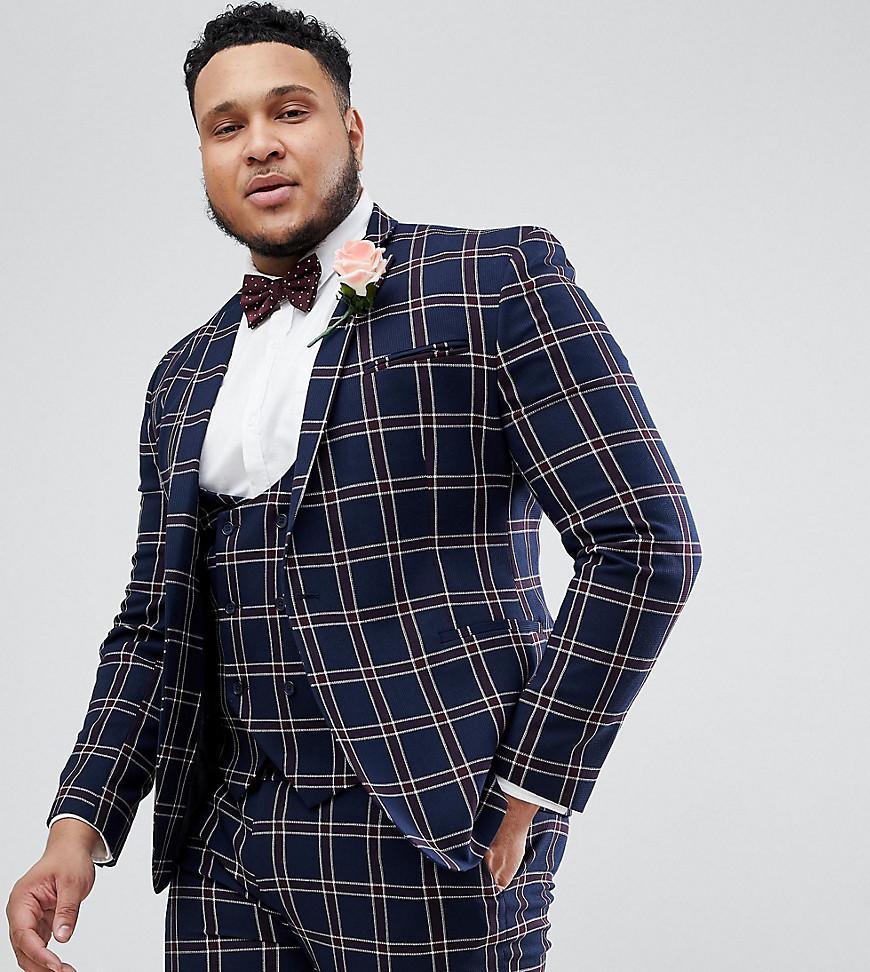f28abd26f ASOS. Men s Blue Plus Wedding Super Skinny Suit Jacket In Navy Waffle Check