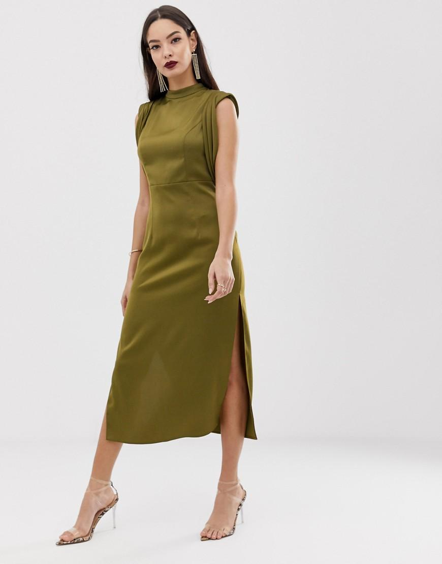 fc20cb645637 ASOS Satin Midi Dress With Drape Armhole And Side Split in Green - Lyst
