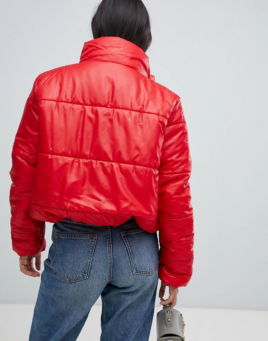 9b0aeab2de1 Lyst - AX Paris Wet Look Padded Jacket in Red