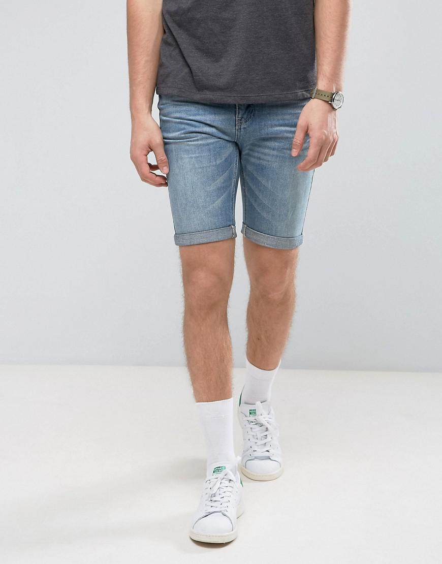 Cheap Prices Reliable Denim Shorts In Mid Blue Wash With Distressing - Mid wash blue Gandys Clearance Sast 1zpfgsVsD