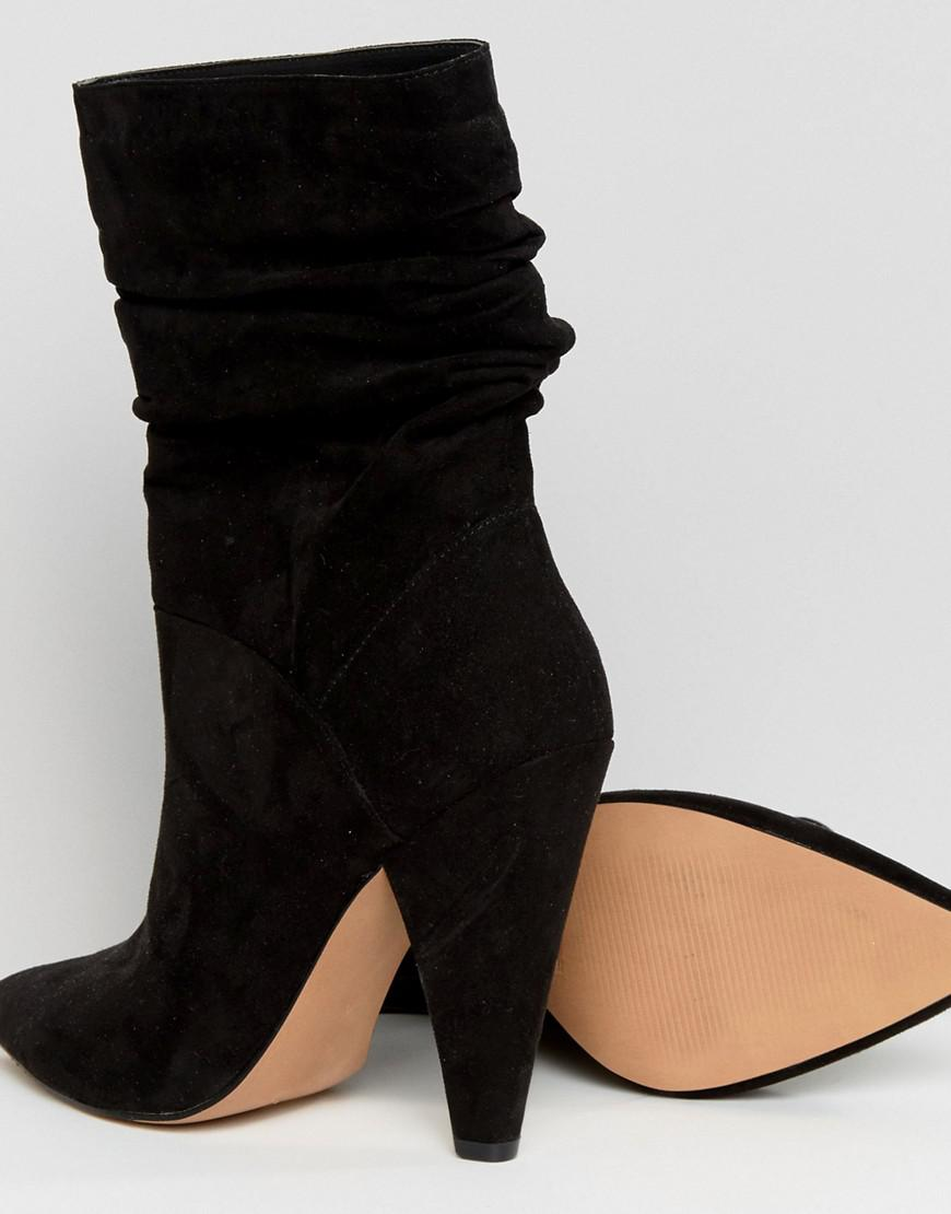 EMERSON Slouch Heeled Boots - Black Asos BlJN6