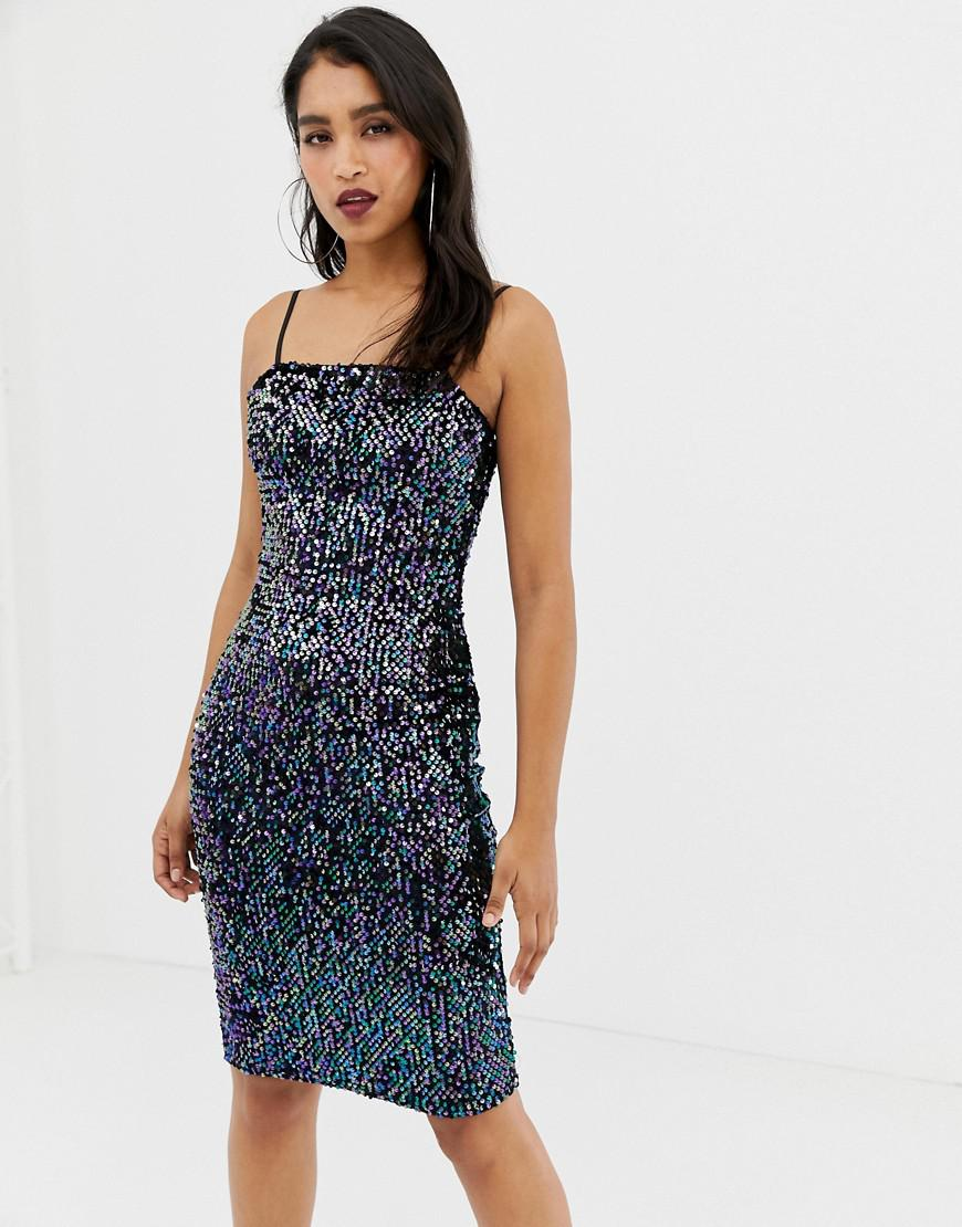 2c0483630b32 Lipsy - Blue Sequin Cami Dress With Square Neck In Black - Lyst. View  fullscreen