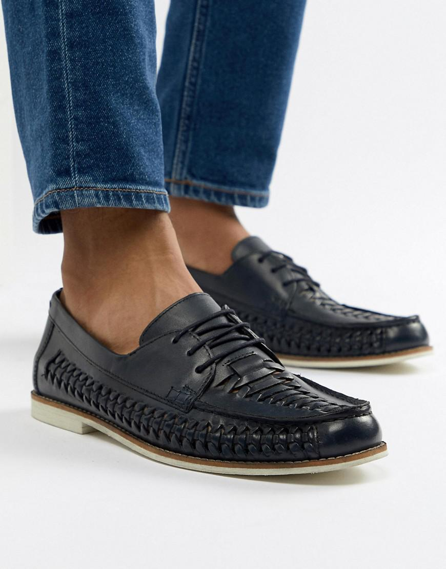 Kurt Geiger KG By Kurt Geiger Woven Lace Up Shoes In Navy Leather FCnfwp4Zf