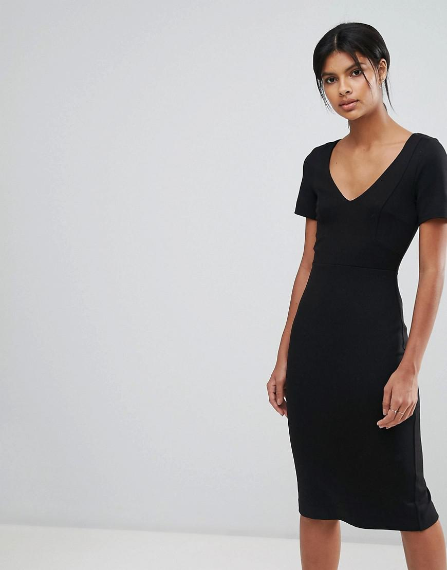 8a7db4ad242 Lyst - French Connection Lula Stretch V Neck Dress in Black