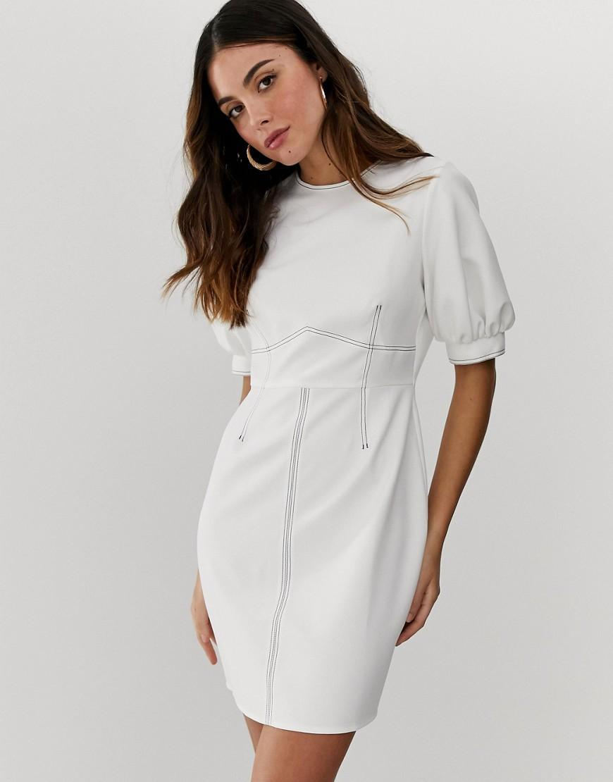 3dc3cc6dab1 ASOS Contrast Stitch Mini Dress With Puff Sleeves in White - Lyst