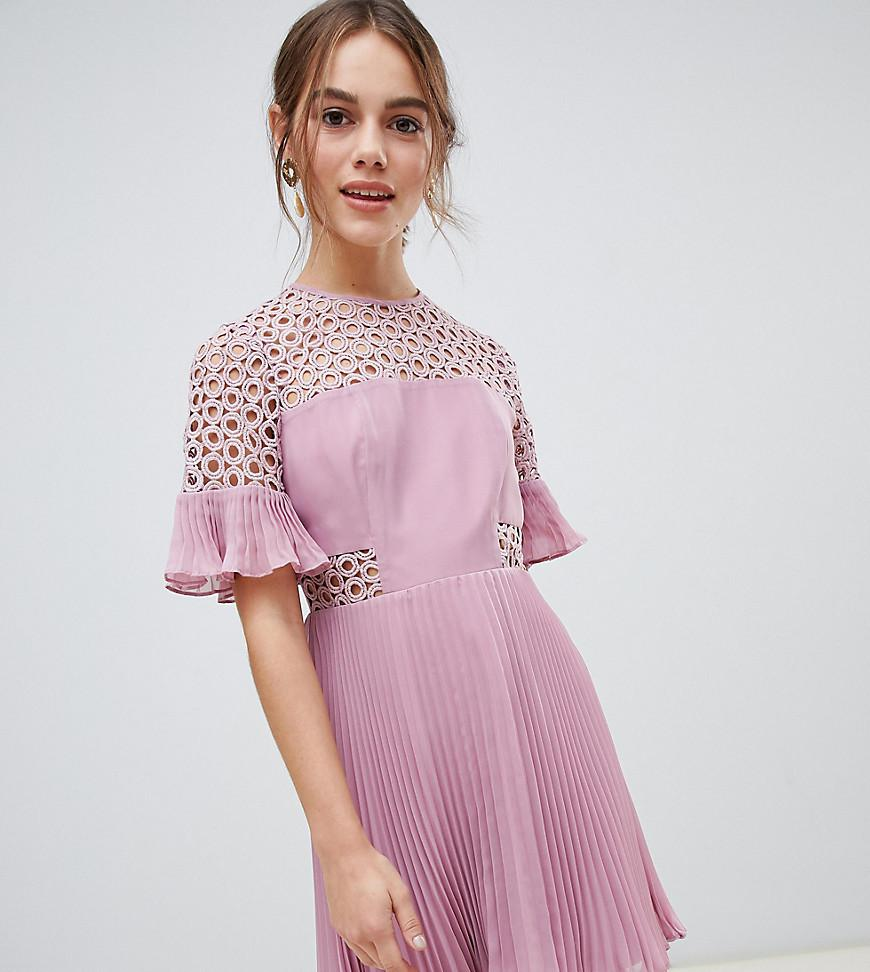 4ee739cde0c ASOS Asos Design Petite Lace Insert Pleated Mini Dress in Pink - Lyst