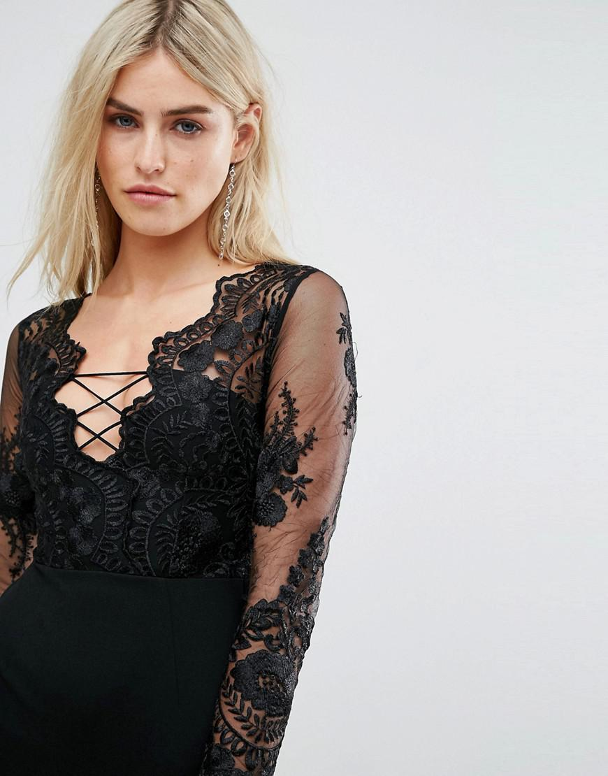 Embroidered Mesh Top Mini Dress With Lace Up Back - Black Love Triangle Newest Online u1Qro