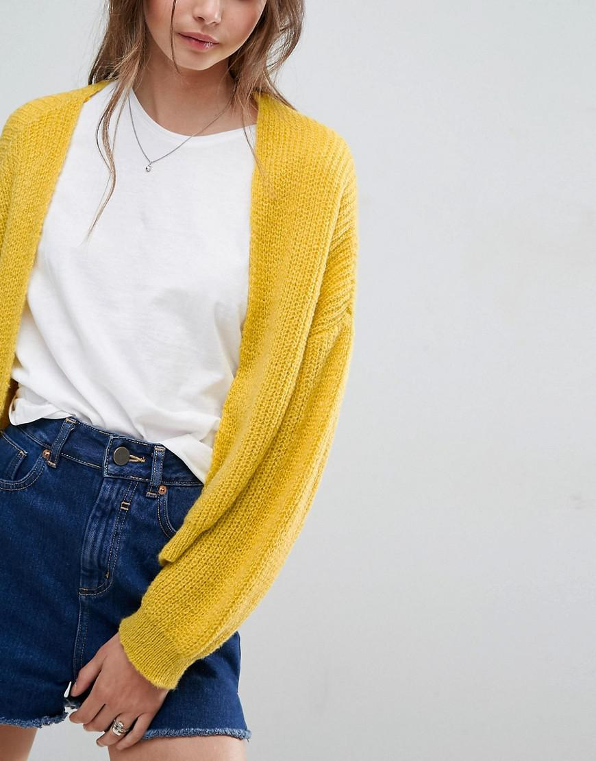 Asos Chunky Cardigan In Fluffy Rib in Yellow | Lyst