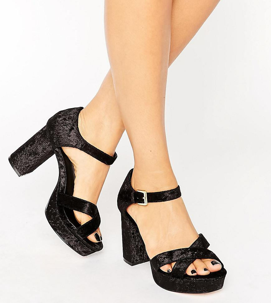 HUMMINGBIRD Wide Fit Velvet Heeled Sandals - Black Asos Quality Free Shipping Outlet cTaZ6xWYiR