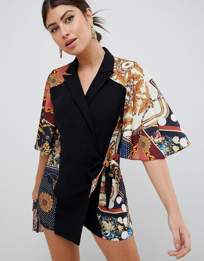 f2732b91bd6d Lyst - ASOS Romper With Cape And Scarf Print Detail in Black