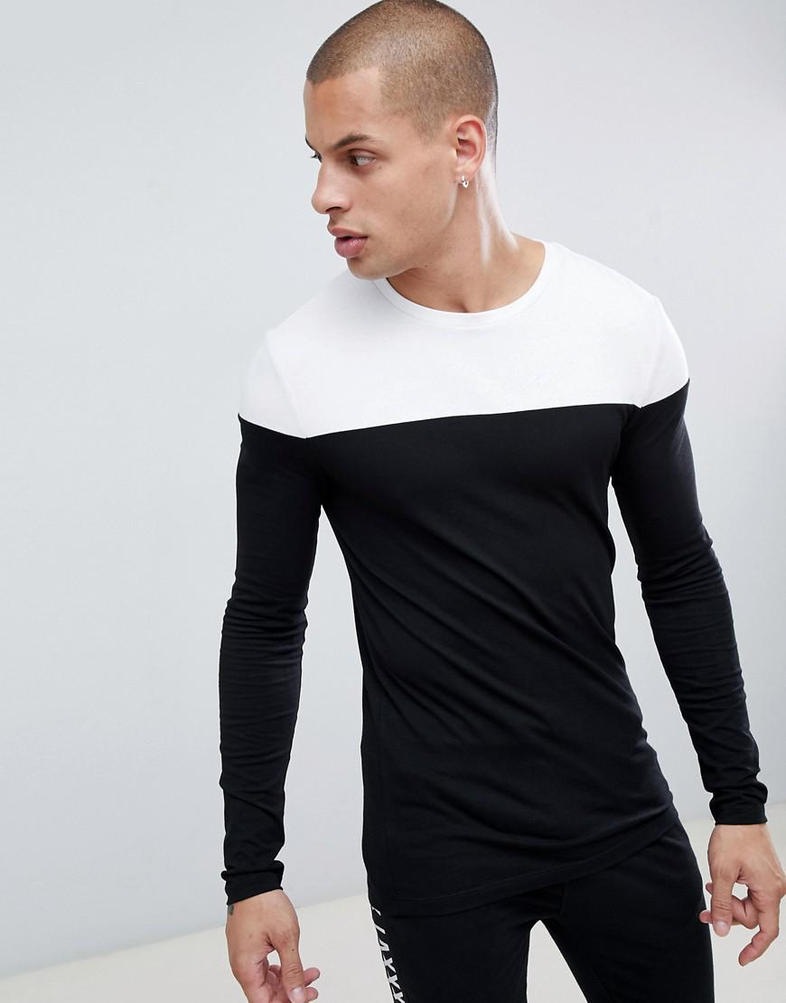 ea9a5900a ASOS Muscle Fit Long Sleeve T-shirt With Contrast Yoke In Black in ...