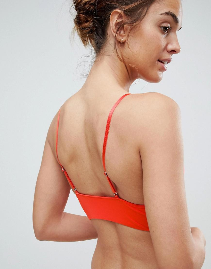ecfa633d4a303 Lyst - ASOS Asos Padded Pull On Easy Longline Triangle Bra in Red