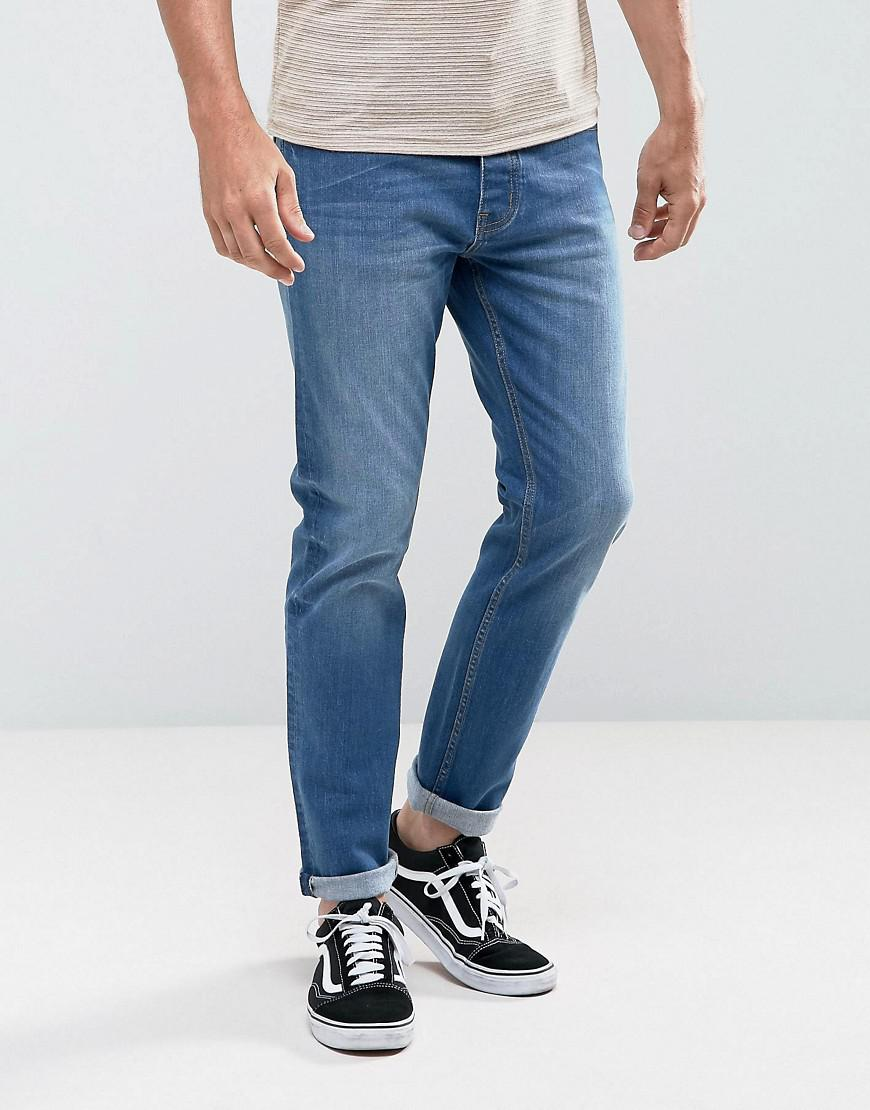 Super Skinny Fit Jeans in Mid Blue - Mid blue Threadbare