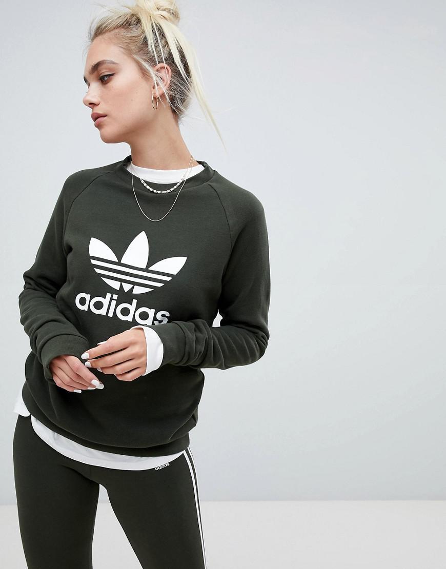 ec08cef25d9f adidas Originals Trefoil Crew Neck Sweatshirt In Khaki in Green - Lyst