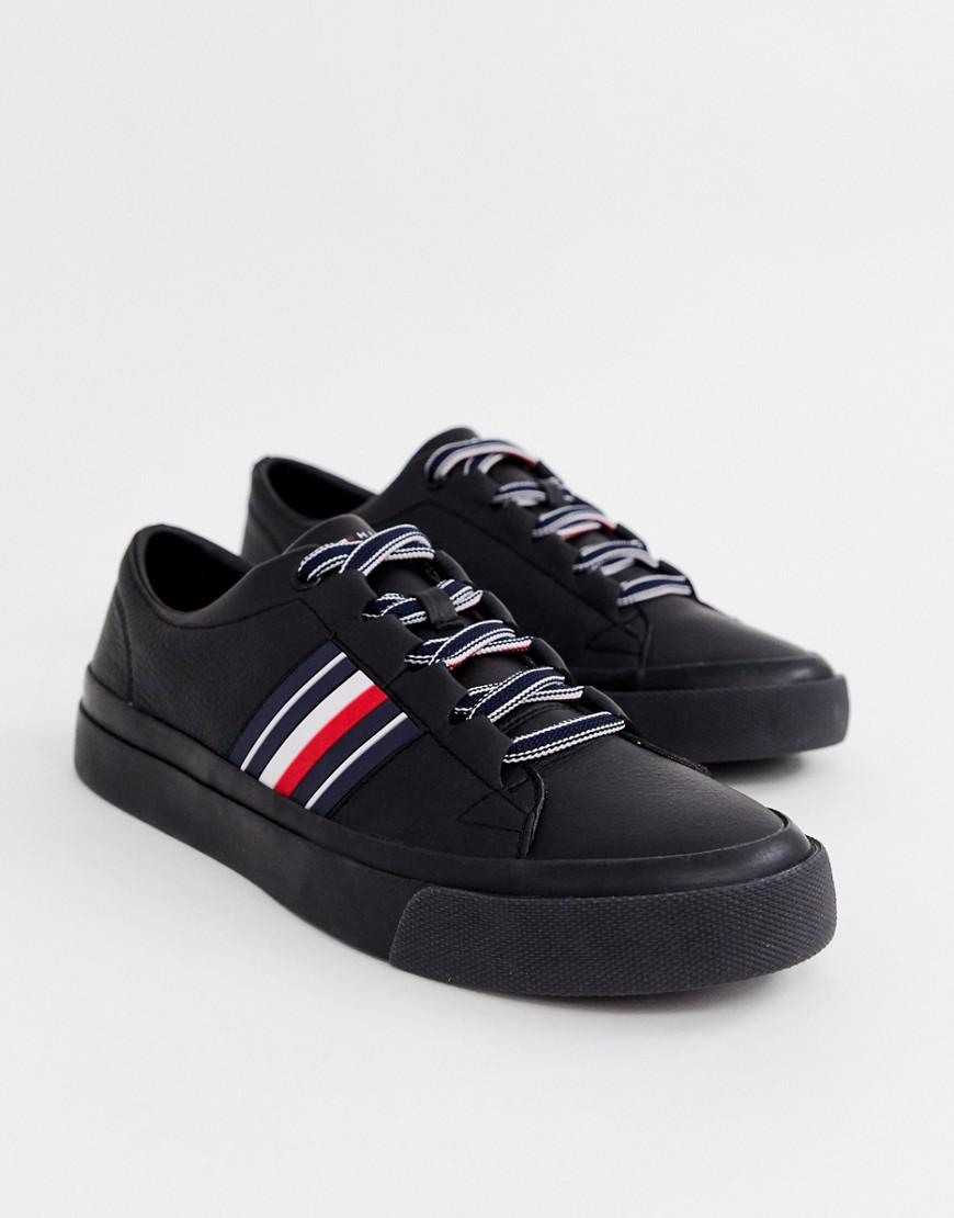 ab817ddbc7f34a Tommy Hilfiger Corporate Stripe Leather Low Trainer In Black in ...