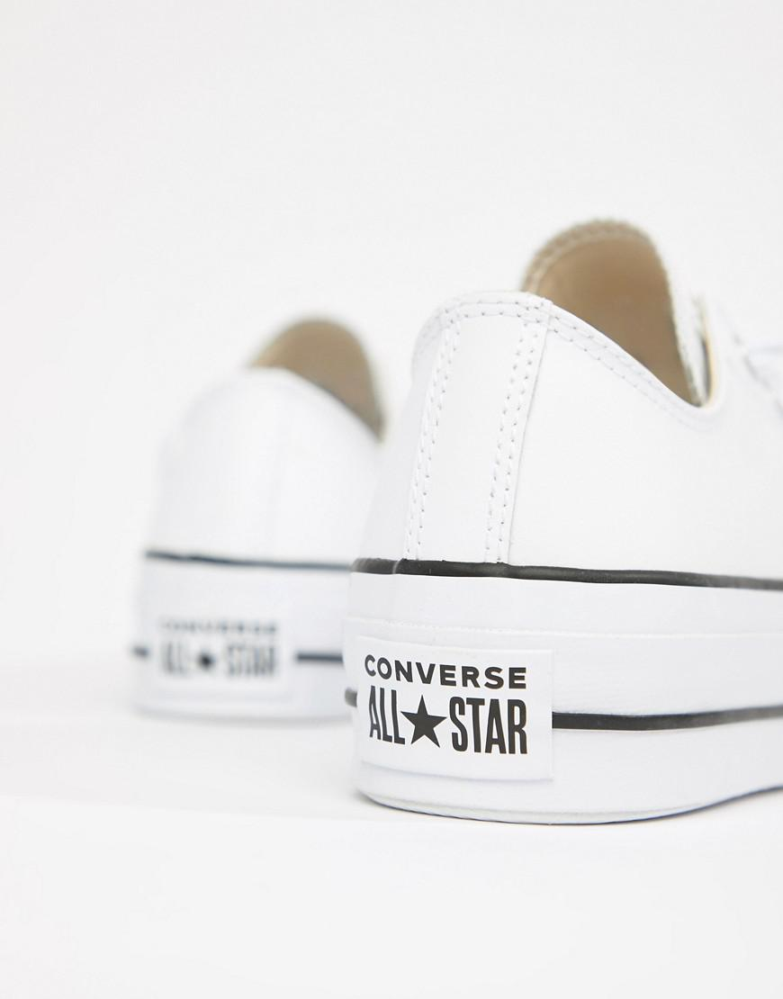 ce74f26a387 Converse Chuck Taylor All Star Leather Platform Low Trainers In White in  White - Lyst