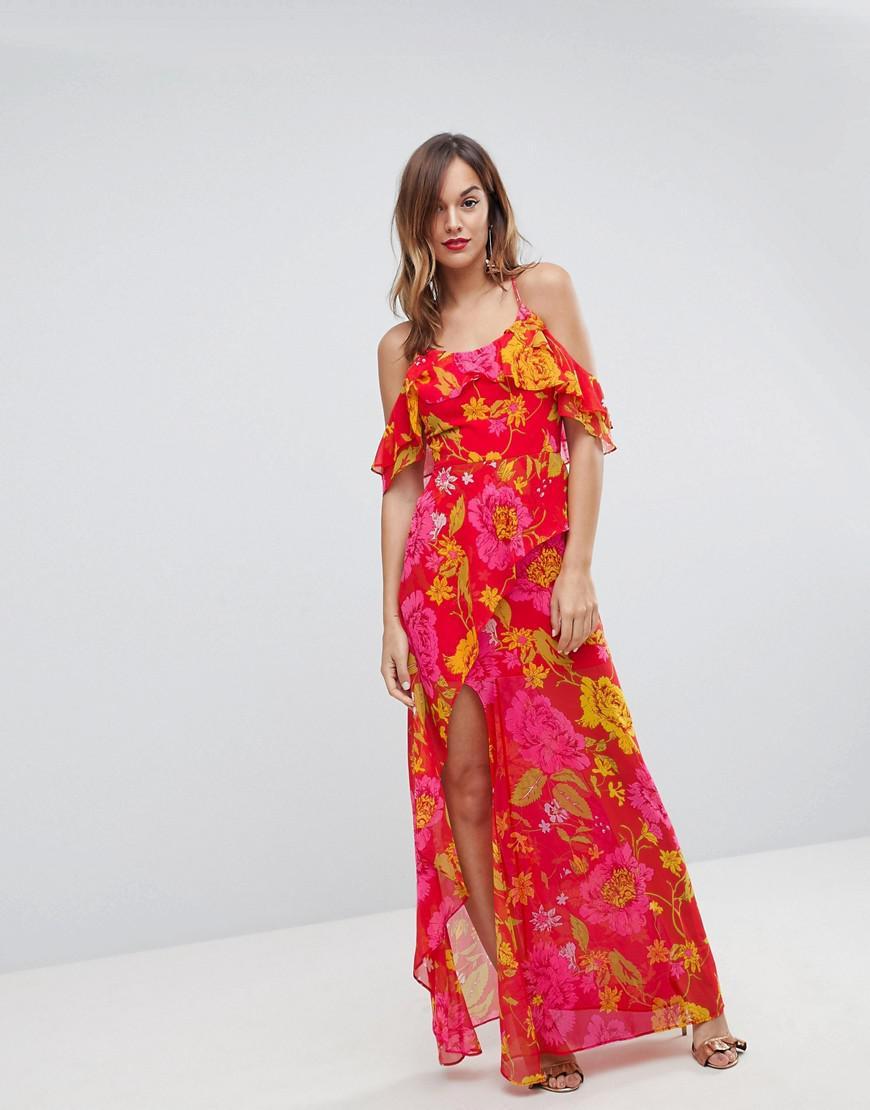 Ruffle Cami Maxi Dress in Bright Floral Print - Multi Asos hLaoE6