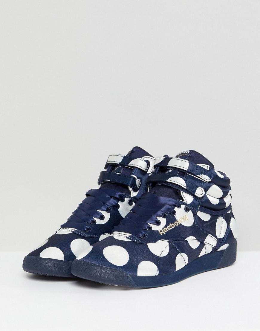 35aa9d42270 Lyst - ASOS White X Reebok Freestyle Hi Sneakers In Satin Spot in Blue