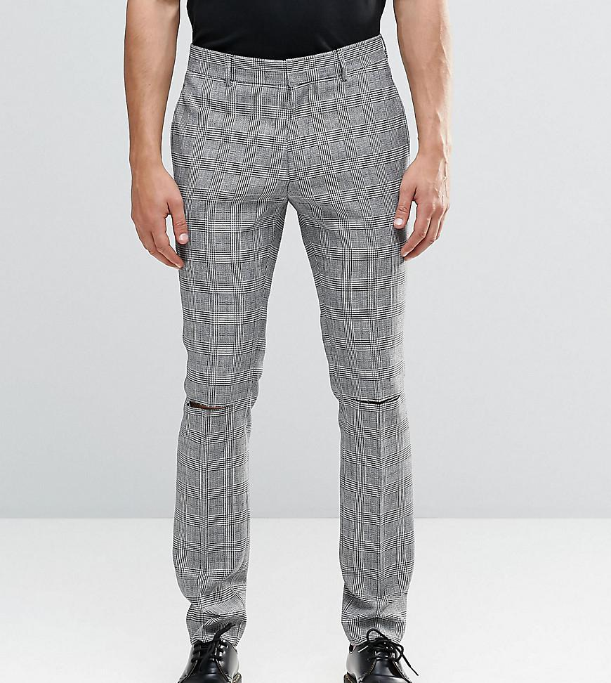 Religion. Men's Black Skinny Suit Trousers In Prince Of Wales Check ...