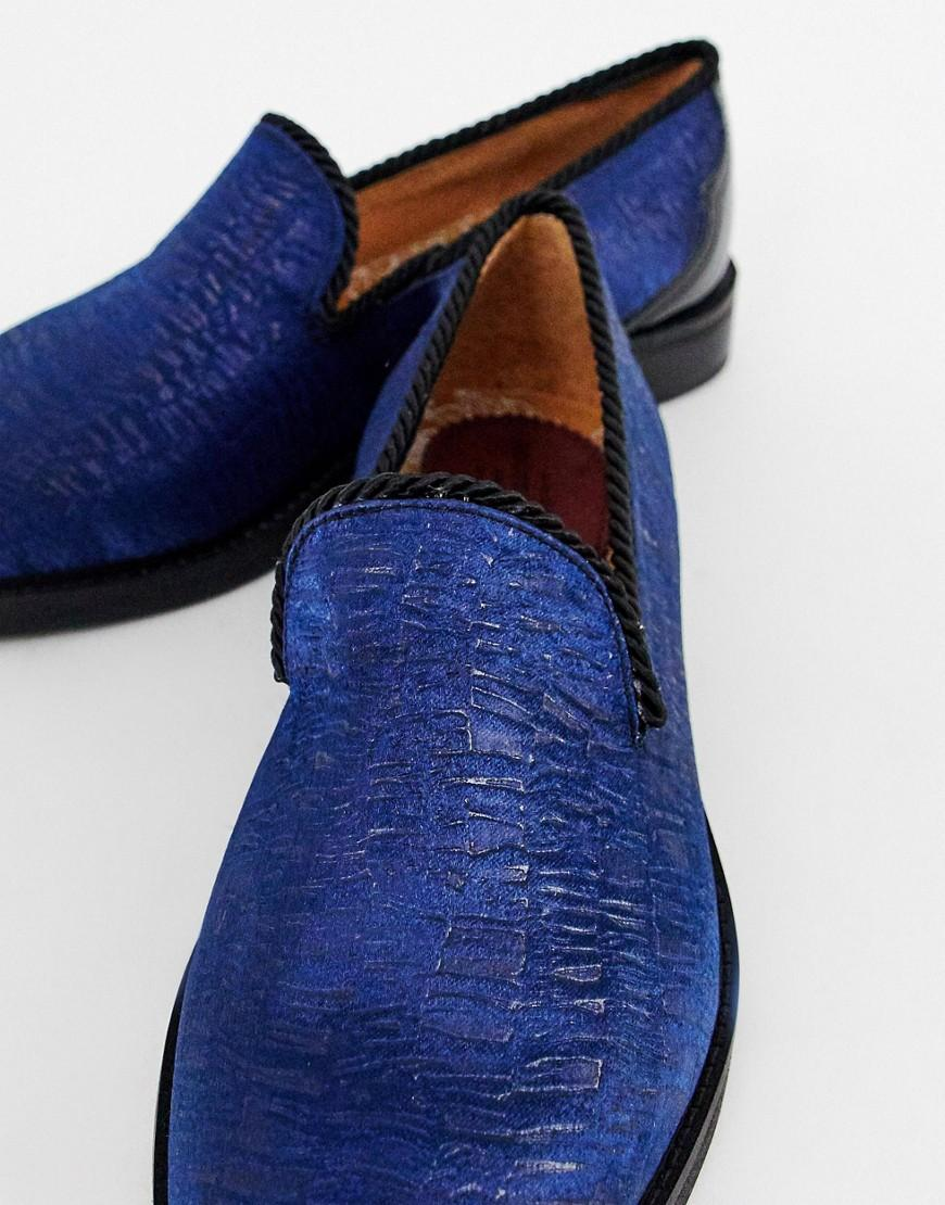 17fa3b371c8 Lyst - House Of Hounds Styx Loafers In Flocked Navy in Blue for Men
