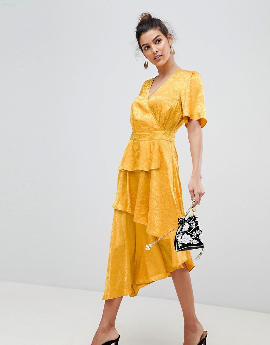 94edcea7de4 Y.A.S Satin Floral Wrap Midi Dress In Yellow in Yellow - Lyst