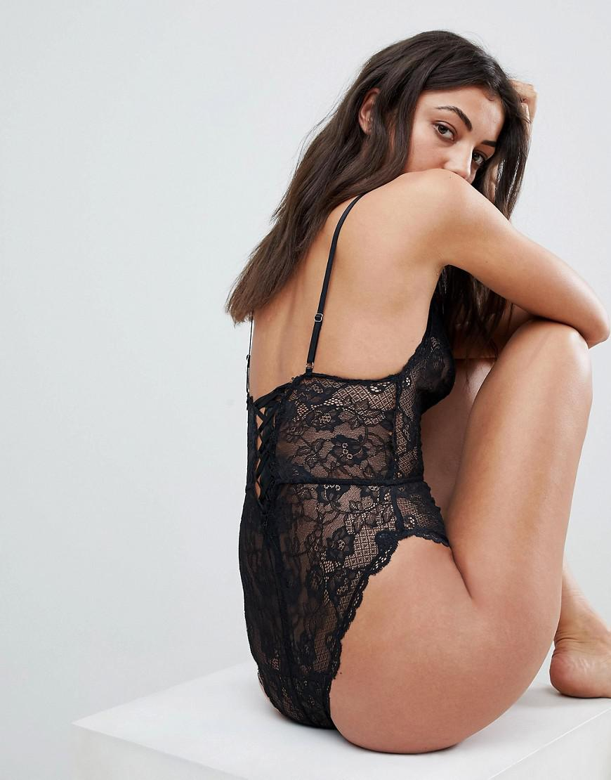 8e0253f0ff Lyst - ASOS Asos Design Tall Blair High Leg Lace Body With Lace Up Back in  Black