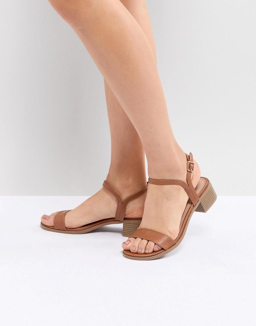7b75f68298285b Lyst - New Look Low Block Heel Sandal in Brown