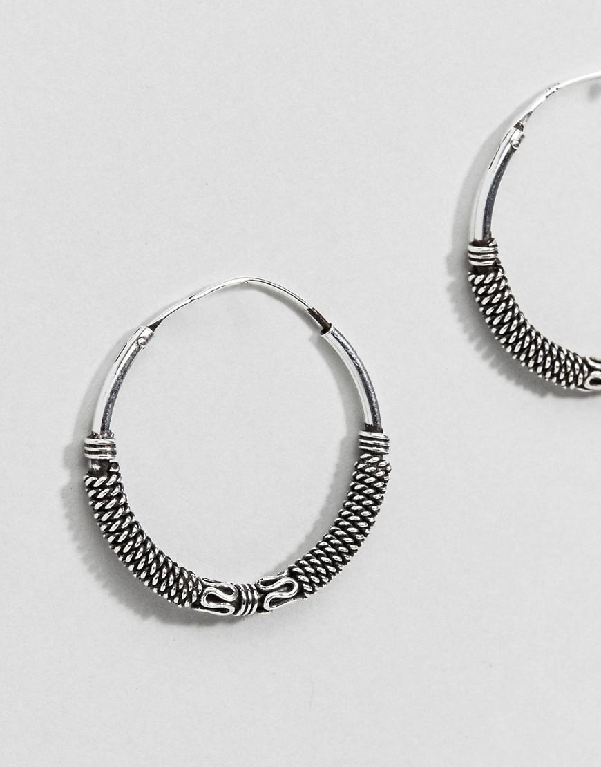 Lyst - Asos Design Sterling Silver Rope And Wire Wrapped Hoop ...