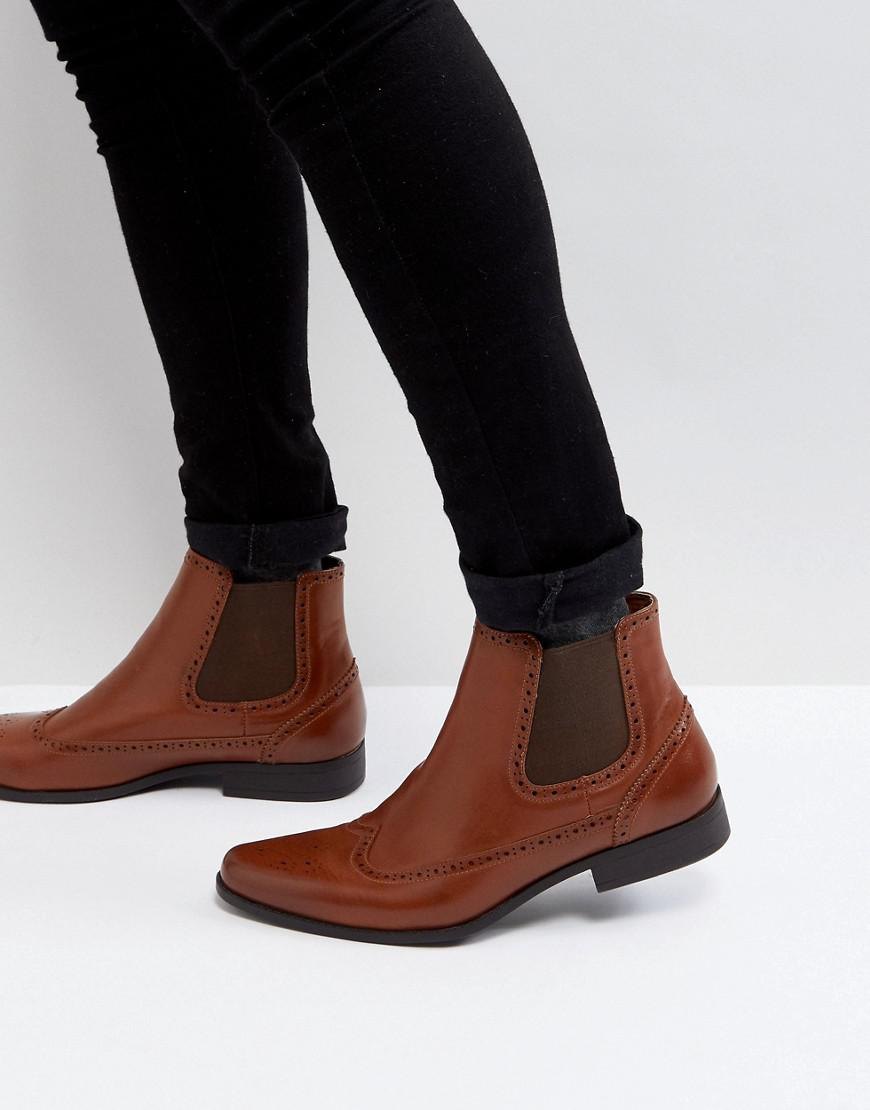 ASOS Chelsea Boots In Tan Faux Leather With Brogue Detail outlet wide range of hg97T1