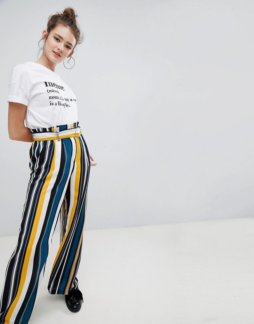 Pantalon Large Jambe En Jaune - Bershka Jaune DfHdFm