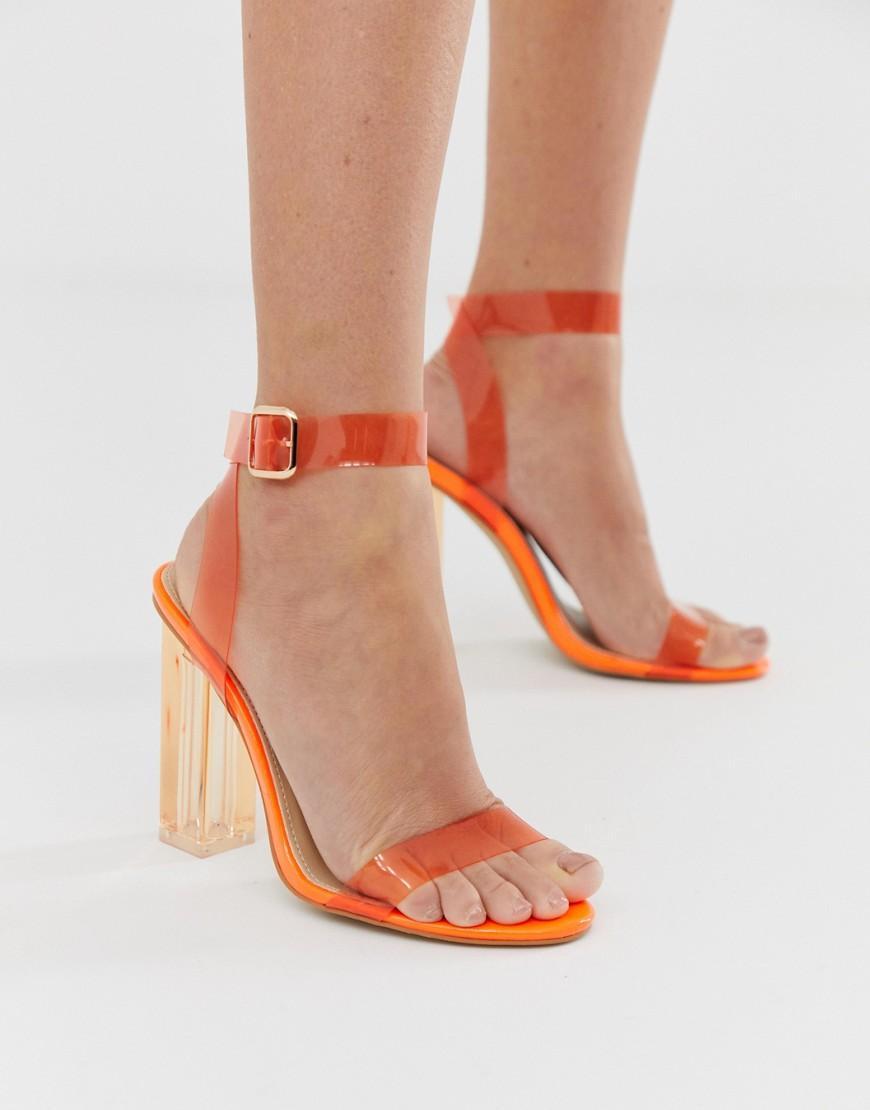 ee3ef1f5498 Lyst - Public Desire Alia Neon Orange Clear Detail Heeled Sandals in ...