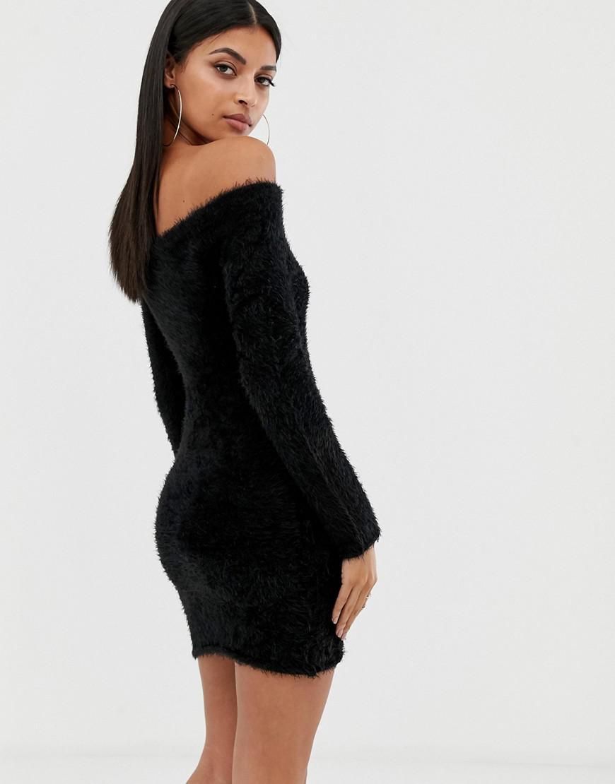 5cf48ea46250 Missguided Fluffy Bardot Long Sleeve Mini Dress in Black - Lyst