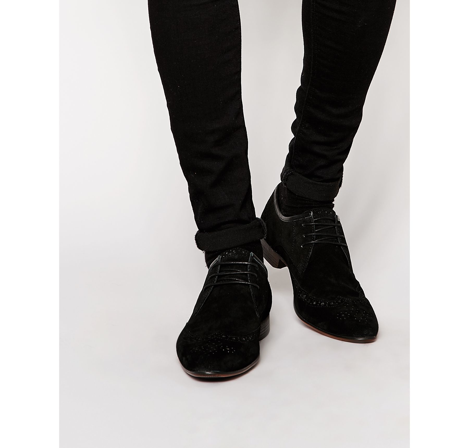 asos brogue shoes in black suede in black for lyst