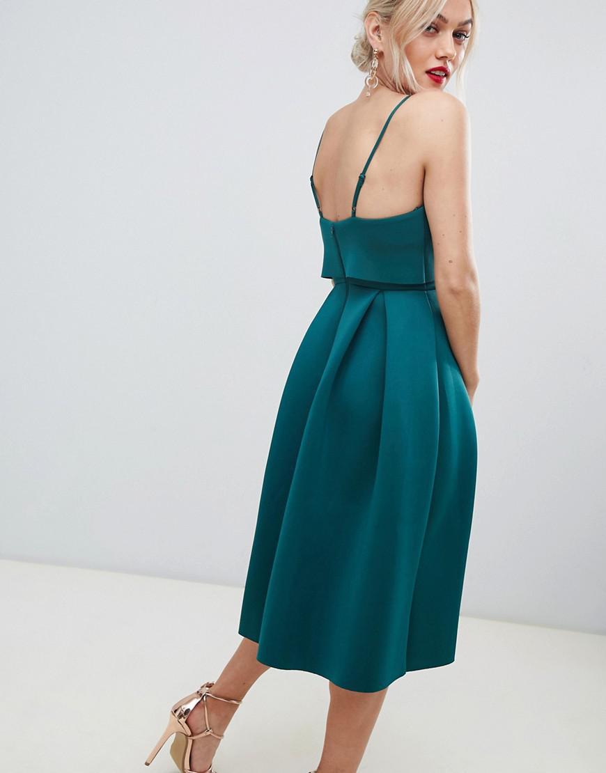 ac87728bf2504 ASOS Asos Design Petite Cami Bow Crop Top Prom Midi Dress in Green - Lyst