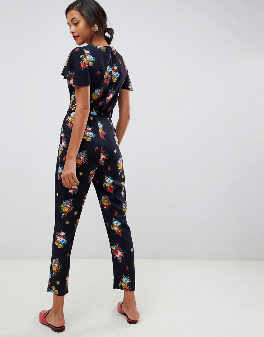8d22b11356e Lyst - Oasis Jumpsuit With Ruffle Cap Sleeves In Floral Print in Blue