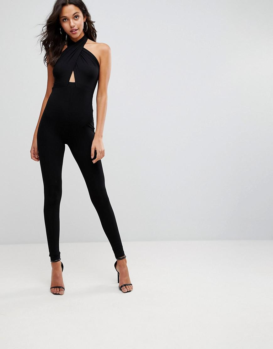 1288f1838f1 Lyst - ASOS Asos Jersey Jumpsuit With Cross Front And Skinny Leg in ...
