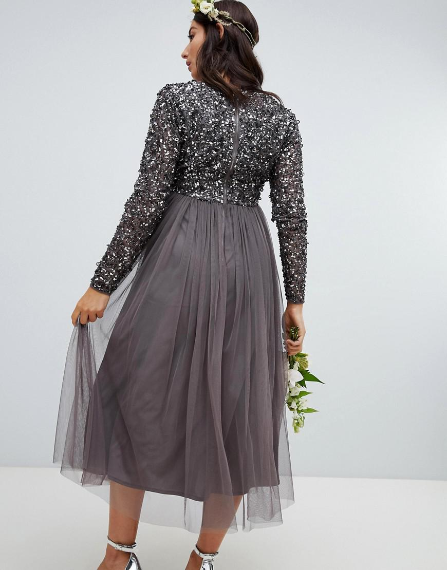 2f36f3aae42d Lyst - Maya Maternity Long Sleeve Wrap Front Midi Dress With Delicate  Sequin And Tulle Skirt In Charcoal in Gray - Save 5%