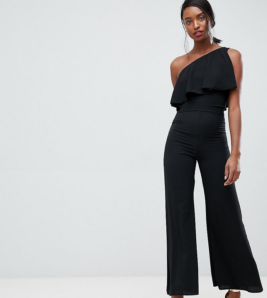 91237bbf7c7 John Zack One Shoulder Overlay Jumpsuit In Black in Black - Lyst